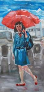 Frau mit rotem Schirm in Frankfurt