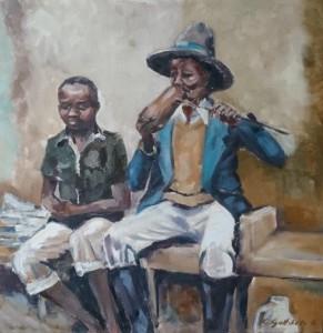 Afrika_Trinkender Mann mit Junge