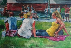 Picknick am Main Frühling